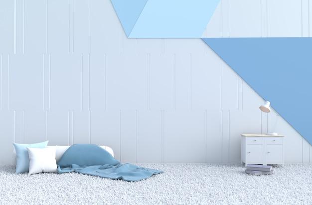 White-blue room decor pillow, carpet, book, blanket for christmas day