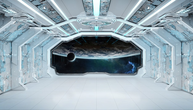 White blue spaceship futuristic interior with window view on planet earth