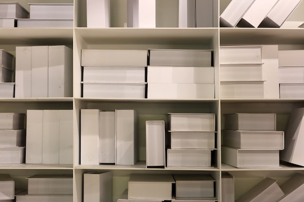 White books on shelf backgrond