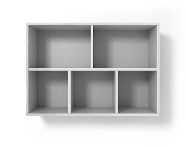 Белая книжная полка, изолированная на белом