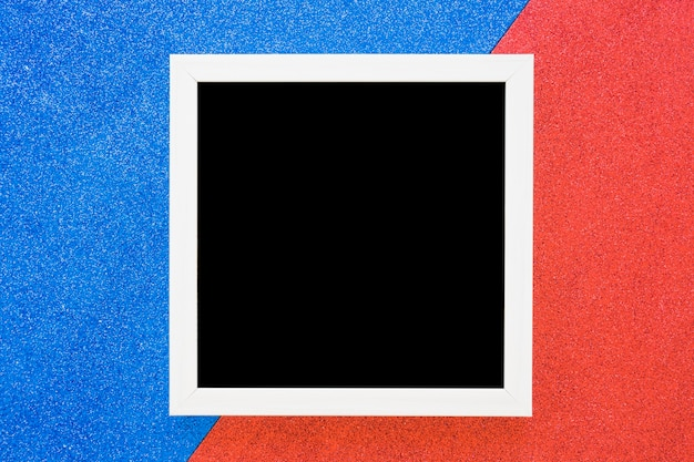 White border frame on dual blue and red background
