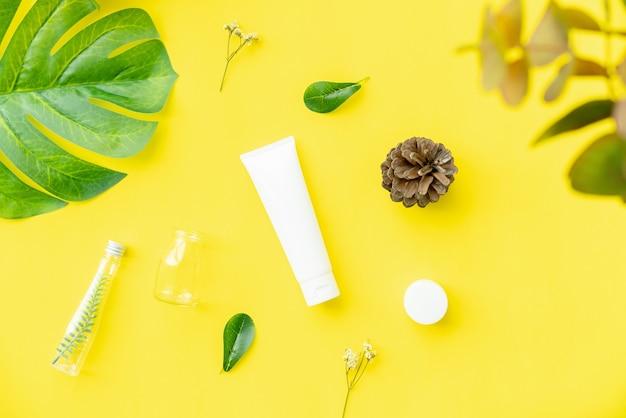 White bottle cream, mockup of beauty product brand.