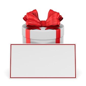赤い弓と白のラベルが付いた白い箱。分離された3dイラスト