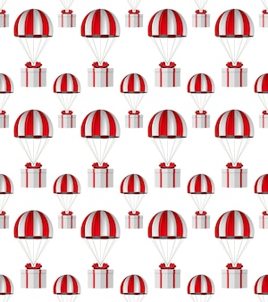 White box with red bow and parachute on white background. seamless texture. isolated 3d illustration
