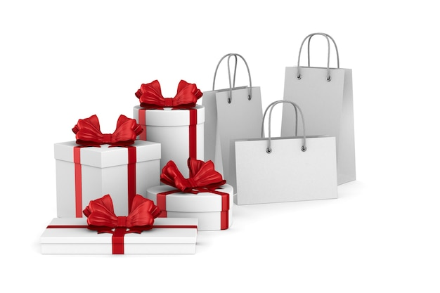 White boxes with red bow and shopping bags on white. isolated 3d illustration