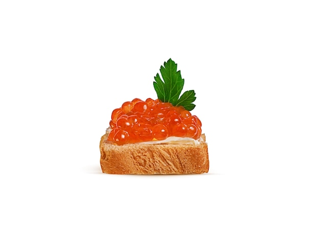 バターと赤キャビアの白パン