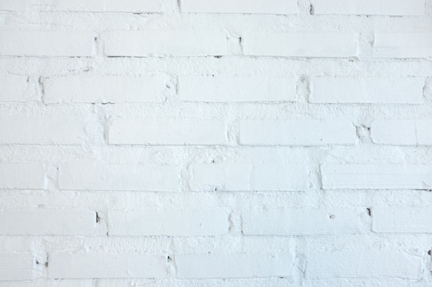 White brick wall background in rural room.