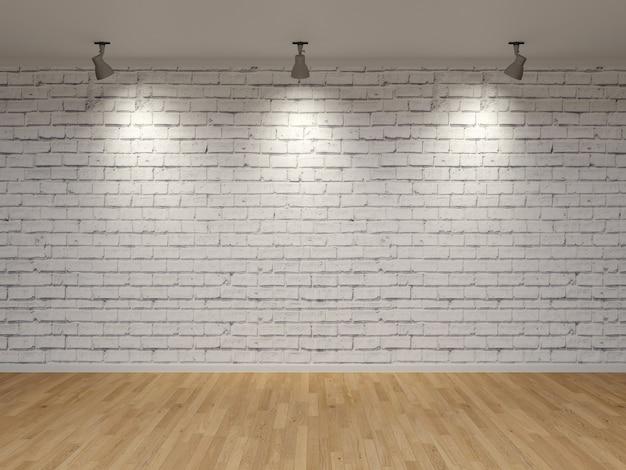 흰색 벽돌 벽 스포츠 라이트 나무 바닥 3d 렌더링