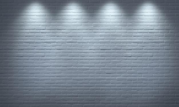 흰색 벽돌 벽 스포트 라이트