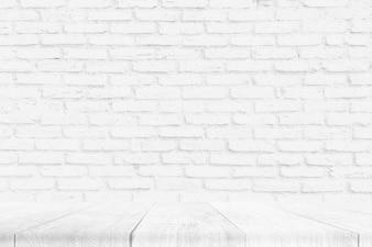 木製の床と白いレンガの壁のテクスチャ