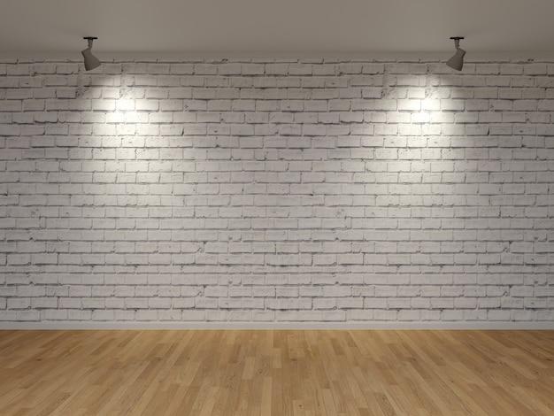 흰색 벽돌 벽 두 스포츠 라이트 나무 바닥 3d 렌더링