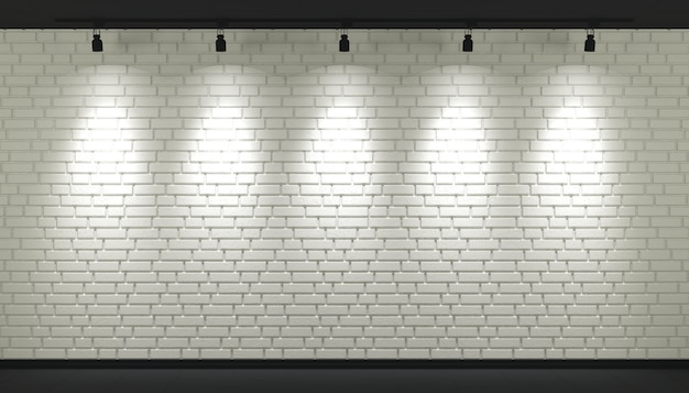 스포트 라이트와 흰색 벽돌 벽