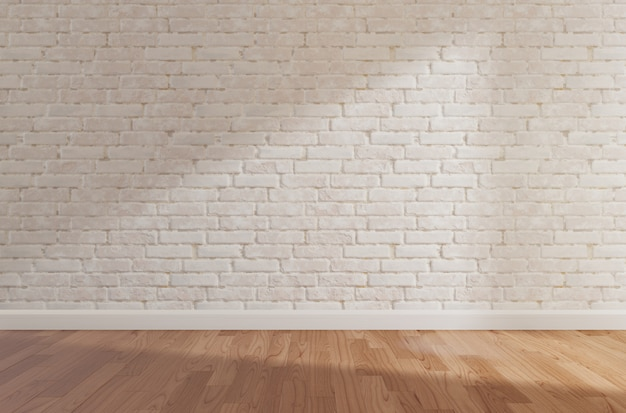 White brick wall and wooden floor, mock up,copy space