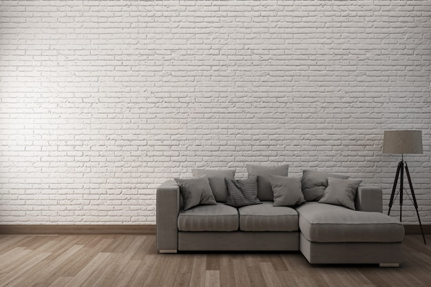 White brick wall  wooden floor with sofa