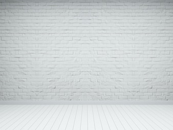 White brick wood floor emty room interior 3d render