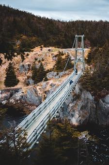 昼間に川に架かる白い橋
