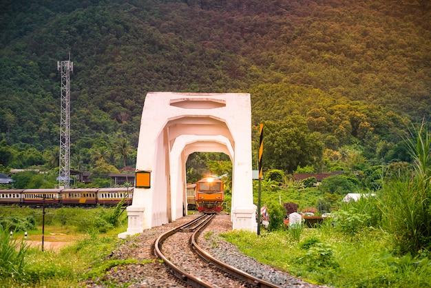 White bridge tha chomphu railway bridge station mae tha district. railway chiangmai bangko