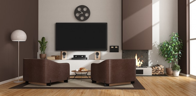 White and brown living room with fireplace, armchairs and tv set