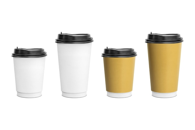 White and brown paper coffee cup for takeaway isolated on white background
