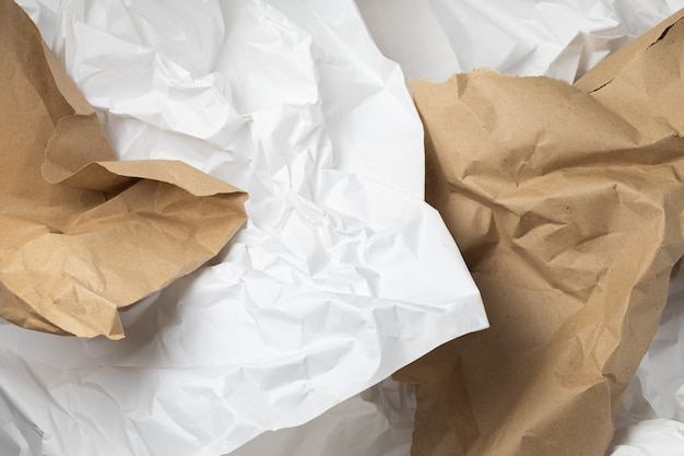 White and brown torn kraft wrinkled wrapping paper background