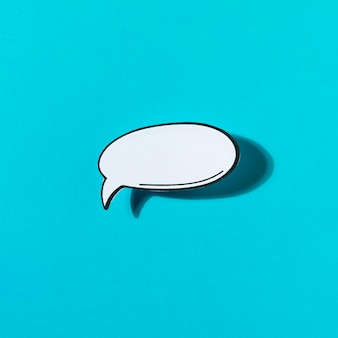 White bubble speech chat icon on blue background