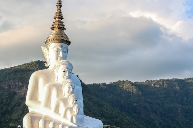 White buddha statue,wat phra that pha son kaew temple at khao khor