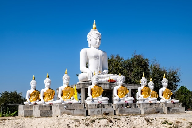 White buddha with blue sky background show to people who have a faithful
