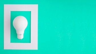 White bulb in the white frame on green background