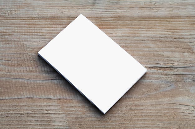 White business card on table