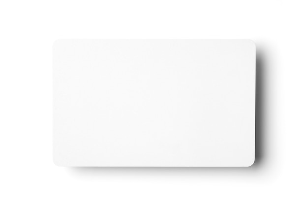 White business card on a white background.