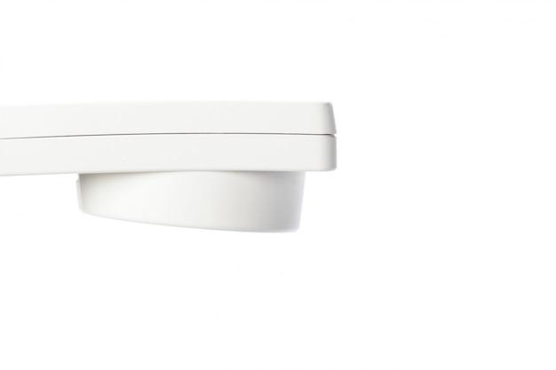 White business telephone receiver phone handset macro isolated