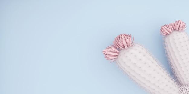 ピンクの花と青い背景の白いサボテン、抽象的な、グリーティングカード、招待状、テキスト用のスペース、高解像度、ラスターイラスト、水彩サボテンのポスター、「3dイラスト」