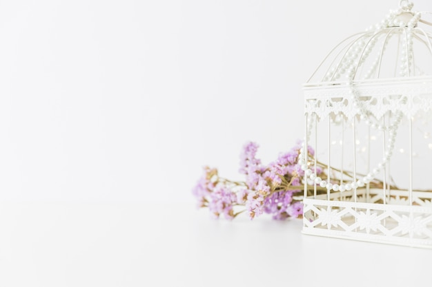 White cage and flowers