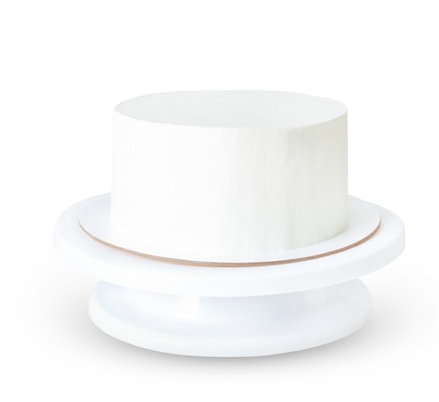White cake without decor on a stand isolated on white surface. even round cake mockup and sample.