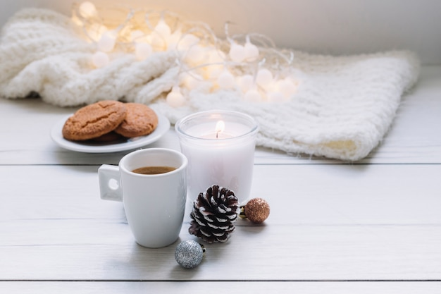 White candle with coffee cup