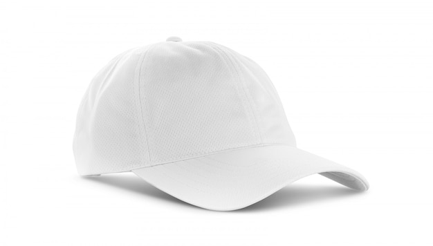 White canvas fabric cap isolated on white background