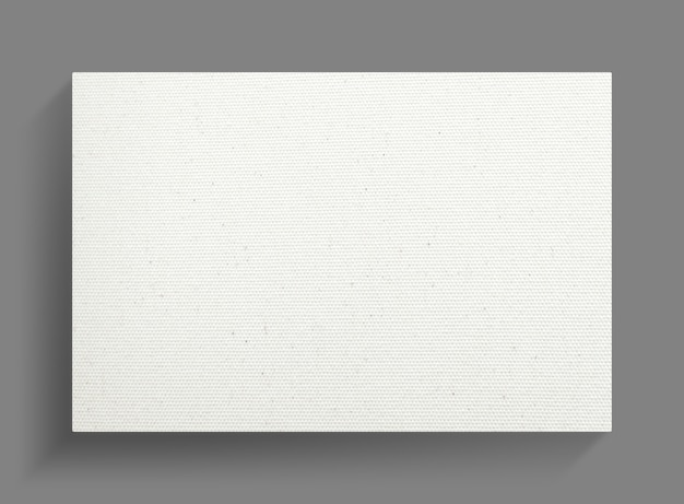 White canvas frame on gray wall background.