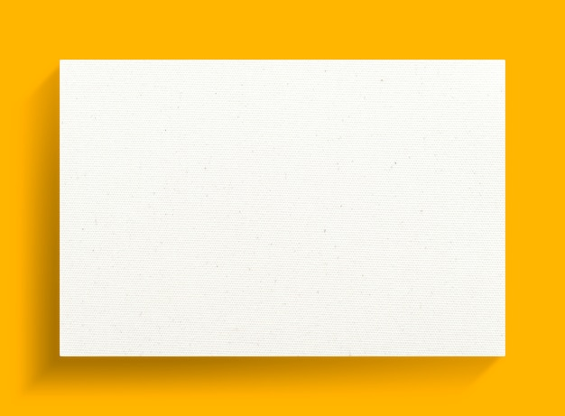 White canvas frame on a yellow background.