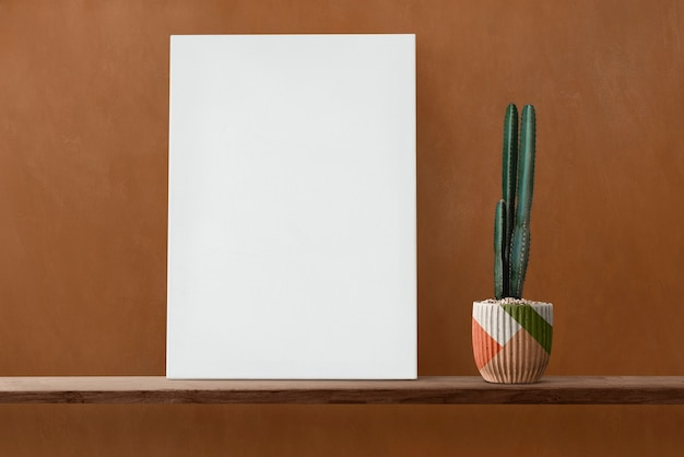 White canvas on a wooden shelf