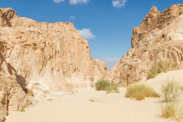 White canyon with sandy yellow rocks