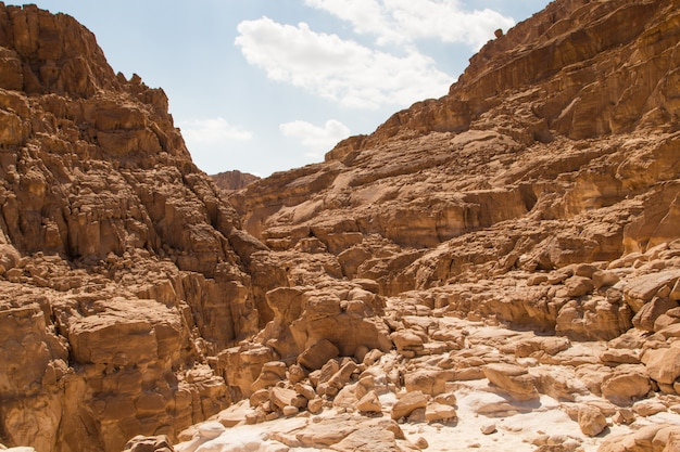 黄色い岩の白い峡谷。エジプト、砂漠、シナイ半島、ダハブ。