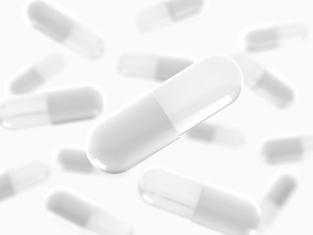 White capsule pill, medical, medicine 3d render