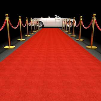 White car and red carpet