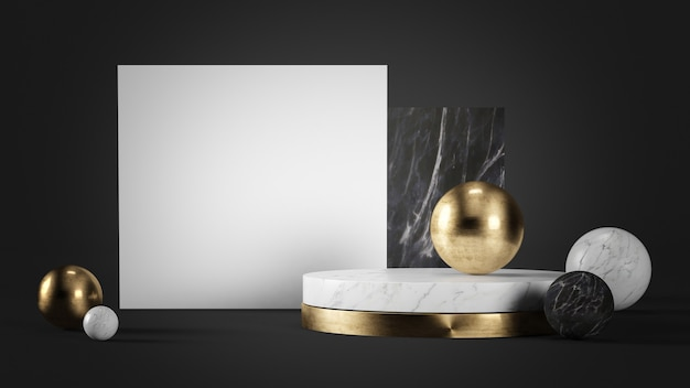 White card mock up surrounded by marble and gold geometric shapes 3d rendering