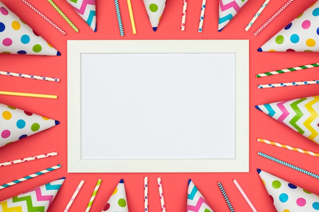 White card on red surface