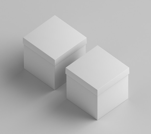 Белые картонные коробки куба высокий вид