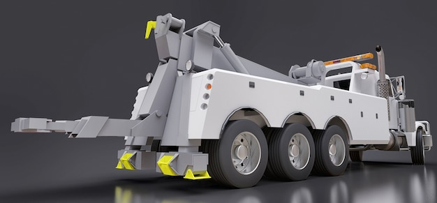 他の大型トラックやさまざまな重機を輸送するための白い貨物レッカー車。 3dレンダリング。