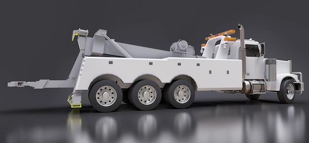다른 대형 트럭 또는 다양한 중장비를 운송하는 흰색 화물 견인 트럭. 3d 렌더링.
