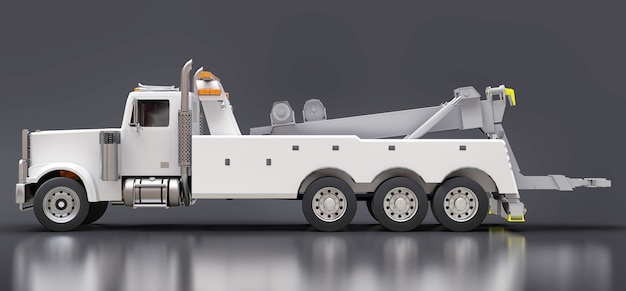 Белый грузовой эвакуатор для перевозки других больших грузовиков или различной тяжелой техники