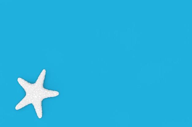 파란색 배경에 흰색 카리브 불가사리입니다. 3d 렌더링